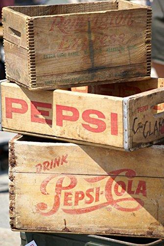 ラミネート24x 35ポスター: Pepsi Pop SodaヴィンテージマーケティングCrates木木製スタックSignsレトロAmericanaボックスボックス古い風化