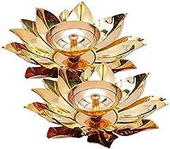 obbi Brass n Copper Diya Designer akhand Deepak Diya Set of 2(5 inches)