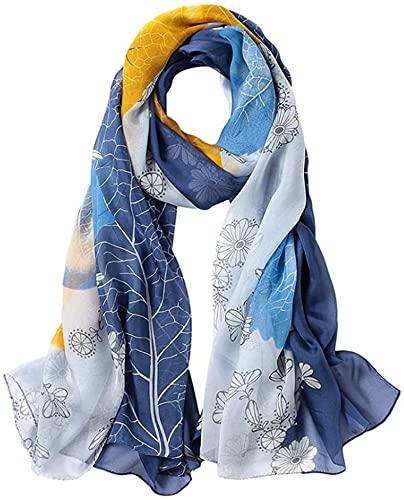 CHEDENG Envoltura de Chal de Bufanda de Cuello de Moda Bufanda de Seda Larga Toalla Espesa Seda Protector Solar Azul Toalla de Playa (Color : Blue)