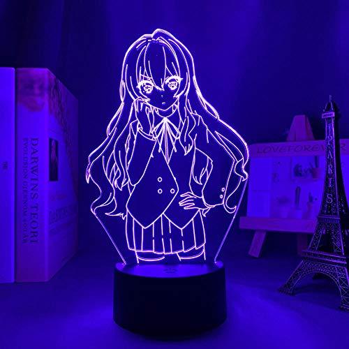 Nachtlicht für Kinder, 3D-Licht lampe Anime Led Night Light Toradora Taiga Aisaka for Bedroom Decor Brithday Gift TIGER X DRAGON 3d Lamp 16-Farben-Fernbedienung HYMJ