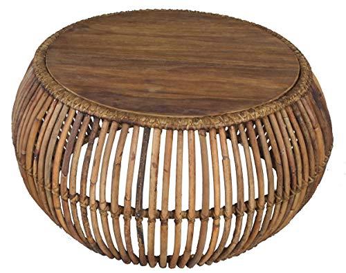 Sit Möbel Couchtisch, Rattan, Rattan und Teak, Natur, Durchmesser von der Platte: 80 cm Durchmesser