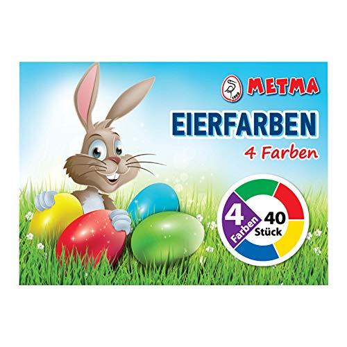 Metma B004-Lote de 4 Pinturas Verde, Rojo, Amarillo, Azul, Colores cálidos, Pastillas para Colorear, Huevos de Pascua, Multicolor (B004)