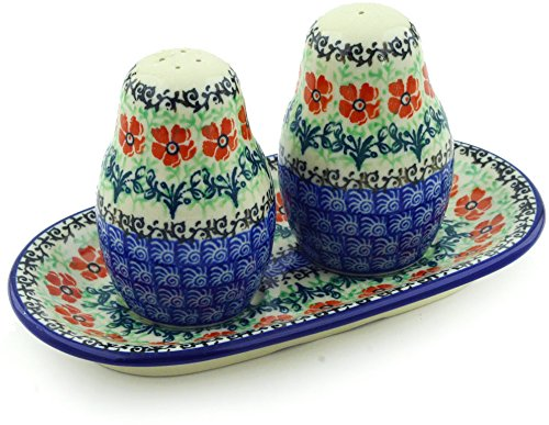Polish Pottery Salt and Pepper 3-Piece Set made by Ceramika Artystyczna (Maraschino Theme) + Certificate of Authenticity