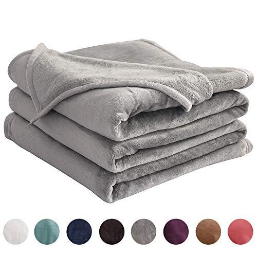 LIANLAM Queen Size Fleece Blanket Lightweight Super Soft and All Season Warm Fuzzy Plush Cozy Luxury Bed Blankets Microfiber (Grey, 90'x90')