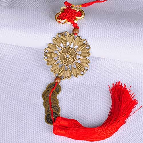 LJXLXY Feng Shui Dekoration Chinesische Knoten Anhänger, chinesische Fünf Kaiser Bronze Feng Shui-Münze Dekoration for Reichtum und Frieden Home Tisch Büro Feng Shui