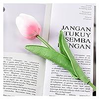 造花 10ピースチューリップ造花ホワイトPUの装飾偽のチューリップラテックス花ブーケ結婚式の庭の装飾 (Farbe : Pink white, Größe : 10 pcs)