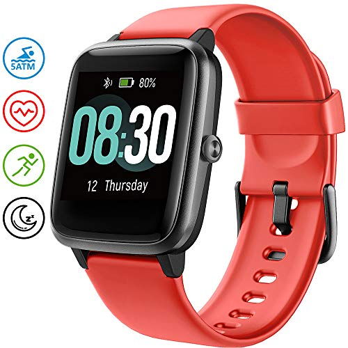 UMIDIGI Smart Watch, Fitness Tracker with Heart Rate Monitor, Activity Tracker for Android Phone, 5ATM Waterproof Pedometer Smartwatch with Sleep Monitor, Step Counter for Women and Men-Uwatch3(red)
