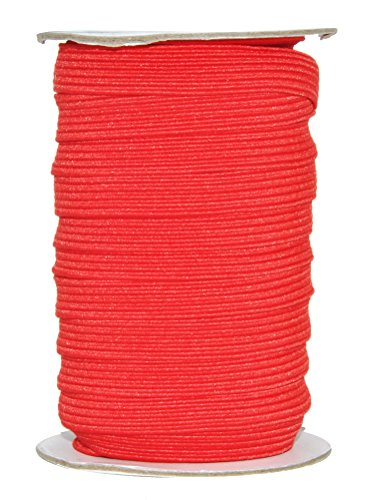 Mandala Crafts Flat Elastic Band, Braided Stretch Strap Cord Roll for Sewing and Crafting; 1/2 inch 12mm 20 Yards Red