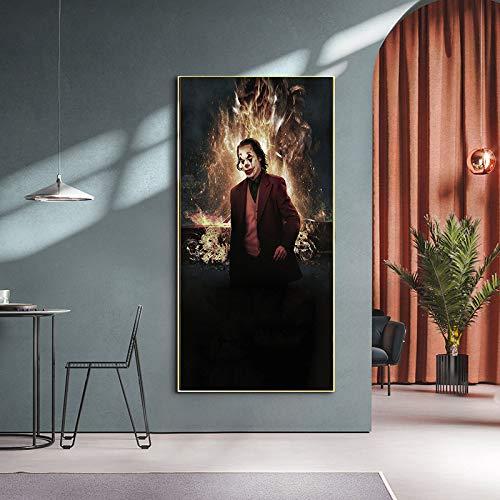 ganlanshu Cartel de Arte de Pared de Payaso en Lienzo de Imagen de Alta definición para la decoración del hogar de la Sala de Estar,Pintura sin marco-40X70cm