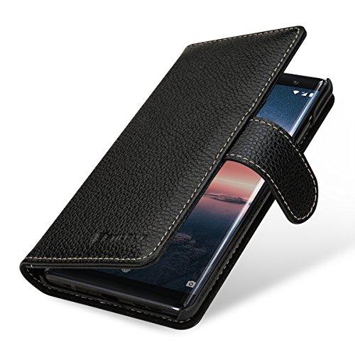 StilGut Talis Case Portafoglio, Custodia in Vera Pelle Cover per Nokia 8 Sirocco con Chiusura Magnetica, Nero