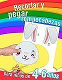 Recortar y pegar rompecabezas - para niños de 4 a 6 años: 14 dibujos para cortar y pegar. Libro de a...