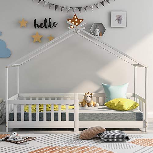 Cama infantil con protección anticaídas, 200 x 90 cm, casa infantil, madera maciza, con valla y somier, color blanco