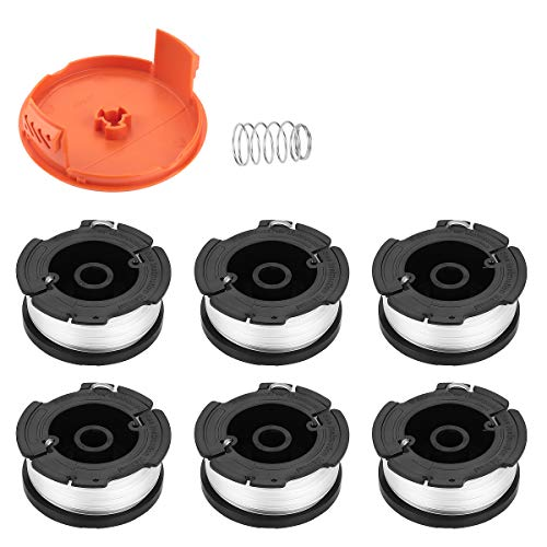 Energup Replacement Black and Decker String Trimmer Spools, Fit for Black Decker AF-100 Weed Eater Autofeed Spool 0.065 Single GH600 GH900 with RC-100-P Spool Cap Covers(6 Spools,1 Cap,1 Spring)