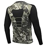AMZSPORT Maillot Compression à Manches Longues pour Homme Sports Séchage Rapide Baselayer Haut All-Season Camouflage L