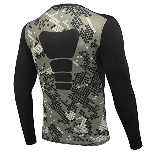 AMZSPORT Herren Kompressions-Shirt langärmlig Funktionsshirts BaseLayer Langarm Tarnung Serie,Mehrfarbig, M