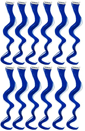 SWACC 12 Pcs Curly Wavy One Color Party Highlights Clip on in Hair Extensions Colored Hair Streak Synthetic Hairpieces (Blue)