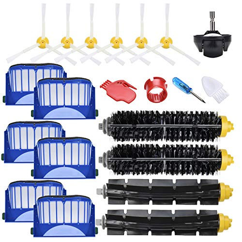 JoyBros 19-Pack Vacuum Cleaner Repalcement Parts :Sweeping Brush,Bristle&Rubber Roller Brush Filter Caster Wheel Compatible for Partial iRobot Roomba 675 670 690 671 677 650 614 ONLY!!!