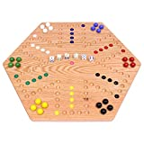 AmishToyBox.com Aggravation Game Board Set - 20' Wide - Oak Wood - Double-Sided - with Large 18mm Marbles and Dice Included