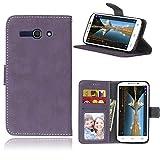 Sangrl Libro Funda para Alcatel One Touch Pop C9 / 7047A / 7047D, PU Cuero Cover Flip Soporte Case [Función de Soporte] [Tarjeta Ranuras] Cuero Sintética Wallet Flip Case Púrpura