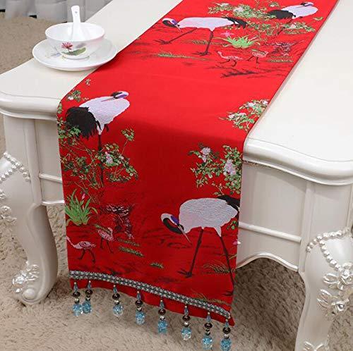 NUANXIN Tafelloper met kwastje Home Kerst Decoraties TV kast stof decoratie, bedhanddoek, servies mat,B,33 * 150cm