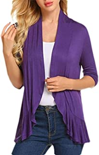 Women's Open Front 3/4 Sleeve Draped Ruffles Knit Cardigan Coat