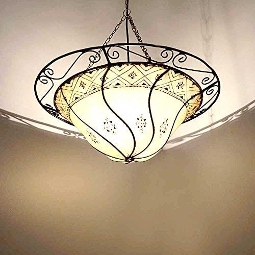Marrakesch 210226 - Lámpara de techo colgante (50 x 40 cm), diseño oriental, color blanco