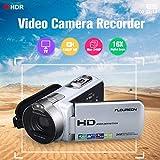 Floureon 1080P Full HD Portable Digitale Videokamera 2,7 TFT LCD 24MP 16x Zoom Camcorder DV AV Ausgang Nachtlicht Sliver EU