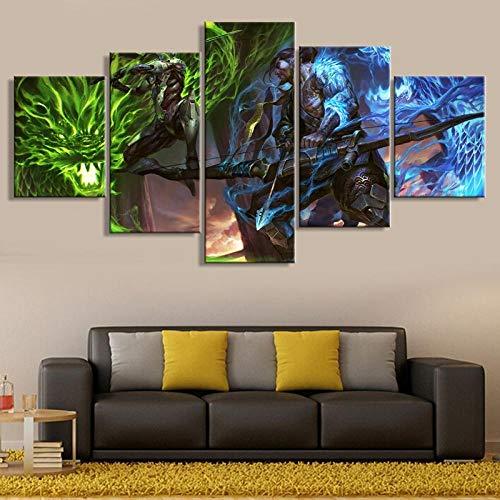 ZGZART 5 Stück Spiel Poster Overwatch Genji und Hanzo Leinwand Gemälde Bilder Wohnkultur Wohnzimmer Wandkunst Gedruckte Kunstwerke / 30x40 30x60 30x80cm-Kein Rahmen