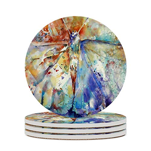 Ceramic Coaster with Cork Base Set of 4 Pack No Holder Absorbent Coasters for Cold Drinks Coffee Mug Glass Cup Place Mats (4 Inches, Abstract Butterfly Art Pattern )