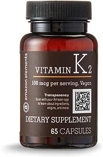 Amazon Elements Vitamin K2 100 mcg, Vegan, 65 Capsules, 2 month supply