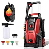 Power Washer, Suyncll Pressure Washer 3800 Max PSI 2000W Electric Portable High Pressure Cleaner Machine with 4 Nozzles, Detergent Tank and Hose Reel, for Homes, Cars, Driveways, Fences, Patios (Red)