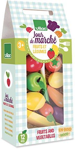 VILAC - Jouet en bois - Cuisine et marchande - Set de 12 fruits et légumes Jour de Marché - 8103