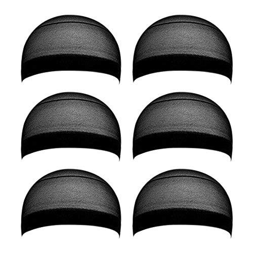 6 Pieces Black Stocking Wig Cap Stretchy Nylon Wig Caps Black Nylon Close End Wig Caps for Men and Women