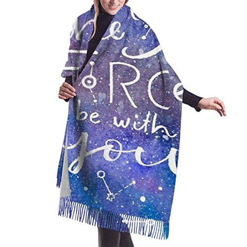 JONINOT May The Force Be with You Bufanda de cachemira colorida para mujeres Hombres Ligero Unisex Primavera Suave invierno Bufandas Flecos Chal Wraps