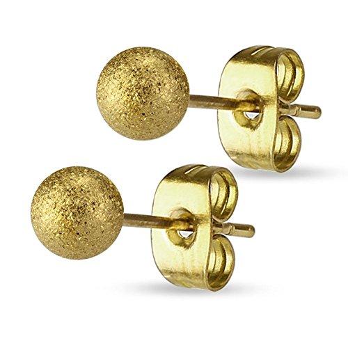 Bungsa® 3mm - Gold | Ohrstecker sandgestrahlt ~ 8 FARBEN & GRÖSSEN ~ 1 Paar Edelstahl (Ohrringe Ohrschmuck Ohrklemmen Studs Damen Frauen Herren Mode Earrings)
