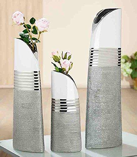GILDE Keramik Schräge Vase Lucente 2 Stück Silber/Weiss glasiert mit Struktur L = 9,5 x B = 16 x H = 45 cm