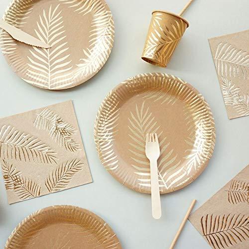 PPuujia Vajilla desechable 57 unids/set hoja de palma desechable vajilla de papel de hoja de oro Platos taza pajitas cumpleaños boda fiesta decoración carnaval suministros