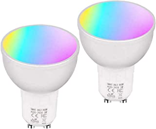 TOOGOO 2Pcs 6W WiFi Smart Led Light Bulb, Gu10 Rgbw Dimmable Light Cup, Compatible with Lexa Home, Home utomation
