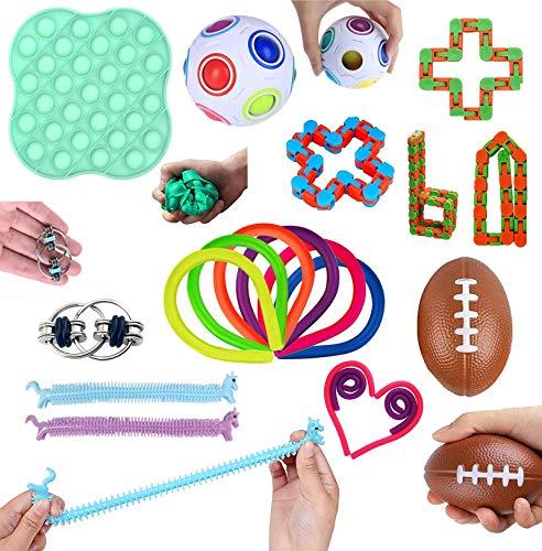 14 Stück Anti Stress Spielzeug Set, Fidget Spielzeug Set,Sensory Toys with Push-Pop Pop Bubble für Stressabbau und Anti-Angst für Kinder und Erwachsene ADD ADHS