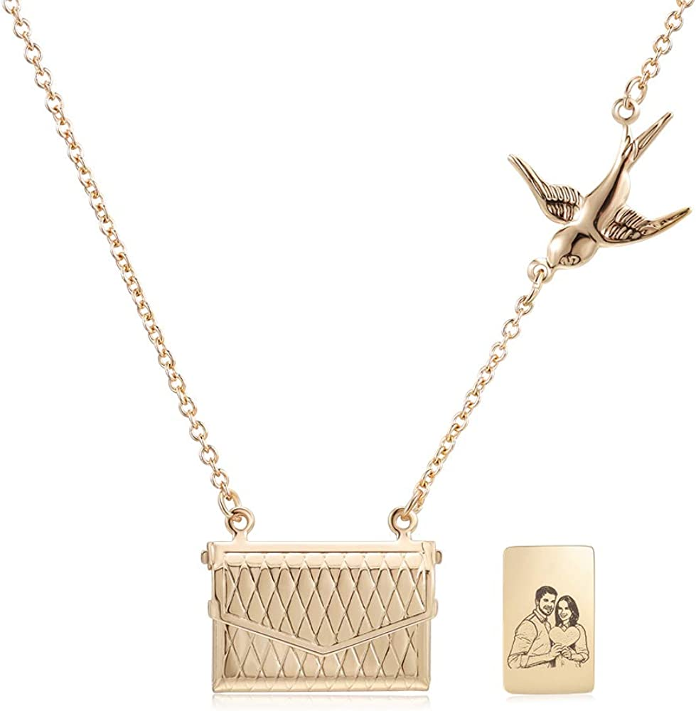 Gemszoo Personalized Letter Envelope Photo Locket Necklace Engraved Picture Custom Pendant for Women Mother Girls