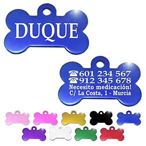 Placa Chapa de identificación Personalizada para Collar Perro Gato Mascota (Azul)