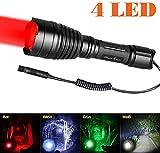 Odepro KL41 Linterna de caza con led de luz Roja, luz verde, IR850 y luz blanca blanco y pulsador de cable remoto