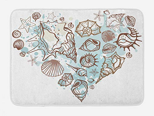Ambesonne Nautical Bath Mat, Hand Drawn Seashells Scallop Starfish Whelk Ocean Underwater Life Theme, Plush Bathroom Decor Mat with Non Slip Backing, 29.5' X 17.5', Brown Warm Taupe Teal