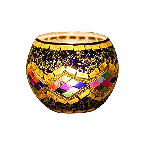 SNIIA Mosaik Teelichthalter Teelicht Halter Windlicht Kerzenhalter Mosaikglas Kugel für Wohnzimmer Schlafzimmer -Ohne Kerzen