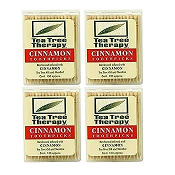 Tea Tree Therapy Toothpicks Cinnamon 100 Count  4-Pack
