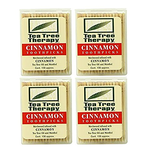 Tea Tree Therapy Toothpicks Cinnamon 100 Count 4Pack
