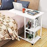Wddwarmhome Mesa de sobrecama, mesa de escritorio con ruedas para el hogar, mesa de escritorio, mesa de cama, sofá portátil con estantes de almacenamiento, mesa auxiliar de muebles