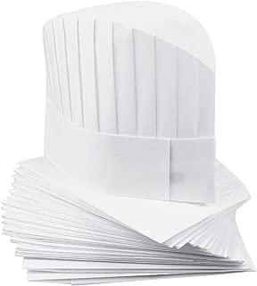 YUENA CARE 20 Piezas Gorros de Cocinero Desechables Alto Sombrero de Chef Cocina para Cocina, Restaurantes, Escuel o Equipo de Servicio de Comidas #1 S