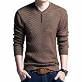 Bowen Jimmy Autumn Slim Long Sleeve Mens Knitted Sweaters Sweater Men Casual V-Neck Button Pullover Coffee XXL