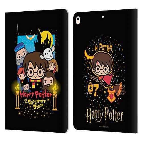 Head Case Designs Oficial Harry Potter Piedra Filosofal Deathly Hallows I Carcasa de Cuero Tipo Libro Compatible con iPad Air (2019)
